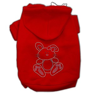 Bunny Rhinestone Hoodies Red XS (8)