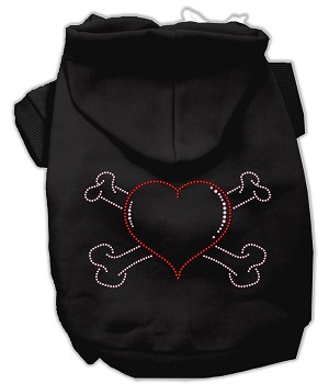 Heart and Crossbones Rhinestone Hoodie Black S (10)