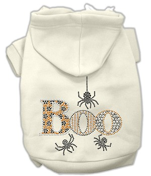 Boo Rhinestone Hoodies Cream M (12)