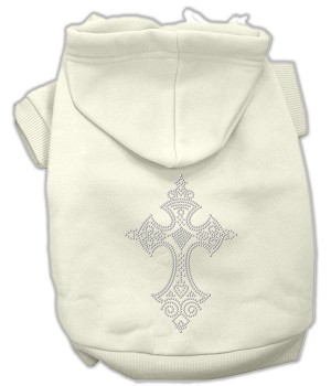 Rhinestone Cross Hoodies Cream S (10)