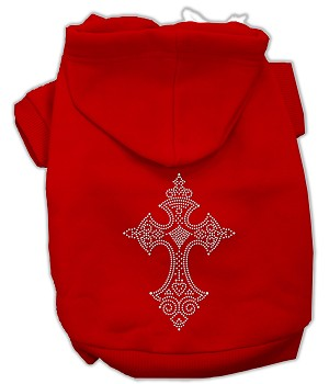 Rhinestone Cross Hoodies Red S (10)