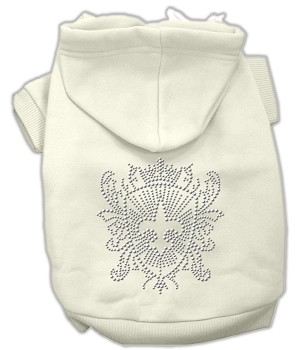Rhinestone Fleur De Lis Shield Hoodies Cream M (12)