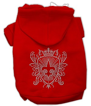 Rhinestone Fleur De Lis Shield Hoodies Red S (10)