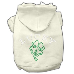 Four Leaf Clover Outline Rhinestone Hoodie Cream S (10)
