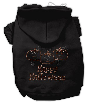 Happy Halloween Rhinestone Hoodies Black XXXL(20)
