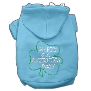 Happy St. Patrick's Day Rhinestone Hoodie Baby Blue L (14)