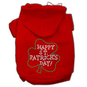 Happy St. Patrick's Day Rhinestone Hoodie Red L (14)