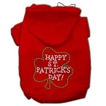 Happy St. Patrick's Day Rhinestone Hoodie Red XL (16)