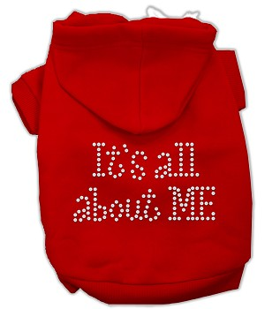 It's All About Me Rhinestone Hoodies Red XXXL(20)