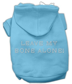 Leave My Bone Alone! Rhinestone Hoodie Baby Blue XS (8)