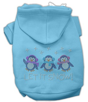 Let it Snow Penguins Rhinestone Hoodie Baby Blue XL (16)