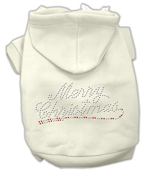 Merry Christmas Rhinestone Hoodies Cream XS (8)