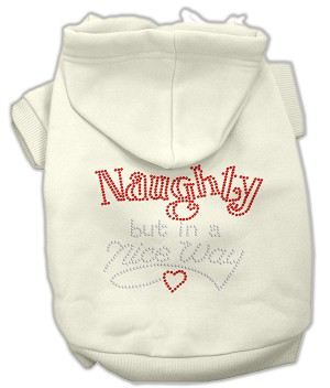 Naughty But Nice Rhinestone Hoodie Cream XXL (18)