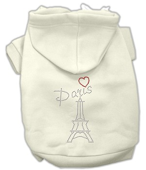 Paris Rhinestone Hoodies Cream XS (8)
