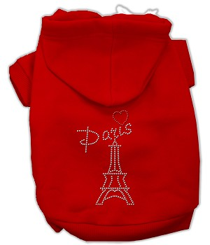 Paris Rhinestone Hoodies Red M (12)