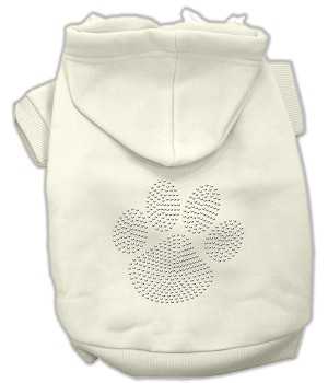 Clear Rhinestone Paw Hoodies Cream M (12)