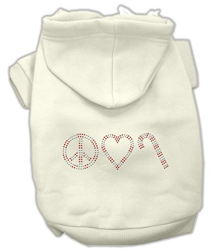 Peace, Love and Candy Canes Rhinestone Hoodie Cream XXXL(20)