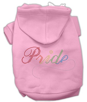 Rainbow Colored Pride Rhinestone Hoodie Pink XS (8)