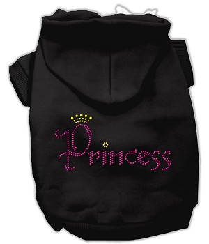 Princess Rhinestone Hoodies Black S (10)