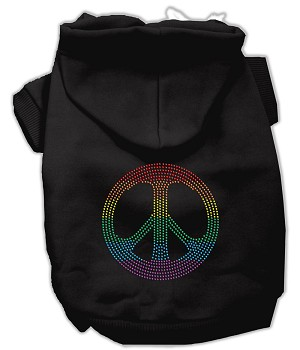 Rhinestone Rainbow Peace Sign Hoodies Black M (12)