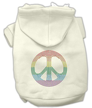 Rhinestone Rainbow Peace Sign Hoodies Cream S (10)