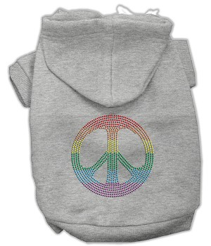 Rhinestone Rainbow Peace Sign Hoodies Grey XXXL(20)