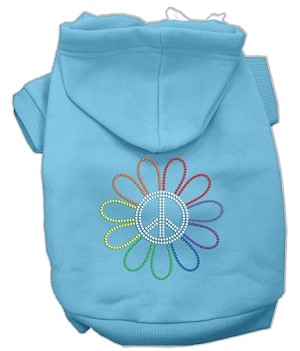 Rhinestone Rainbow Flower Peace Sign Hoodie Baby Blue M (12)