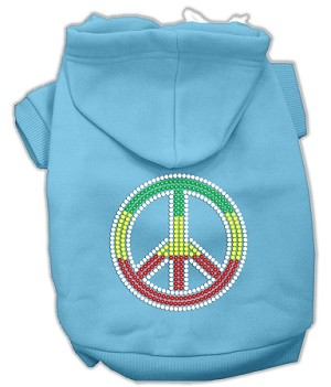 Rasta Peace Sign Rhinestone Hoodie Baby Blue XL (16)