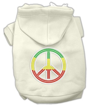 Rasta Peace Sign Rhinestone Hoodie Cream XS (8)