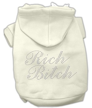Rich Bitch Rhinestone Hoodies Cream S (10)