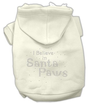 I Believe in Santa Paws Rhinestone Hoodie Cream XL (16)