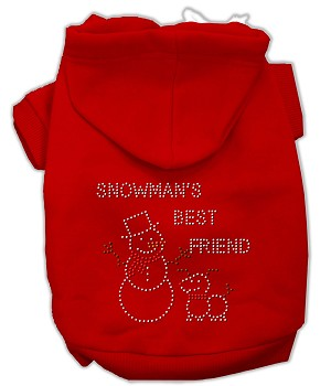 Snowman's Best Friend Rhinestone Hoodie Red XL (16)