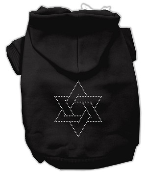 Star of David Rhinestone Hoodie Black XXXL(20)