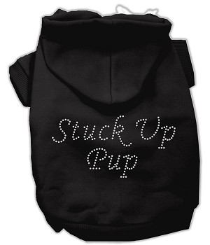 Stuck Up Pup Rhinestone Hoodie Black XXXL(20)
