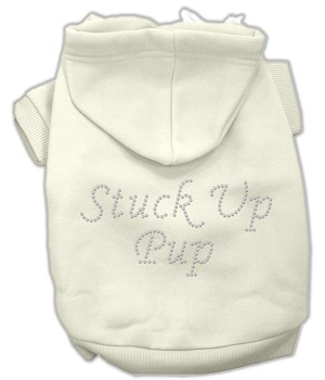 Stuck Up Pup Rhinestone Hoodie Cream M (12)