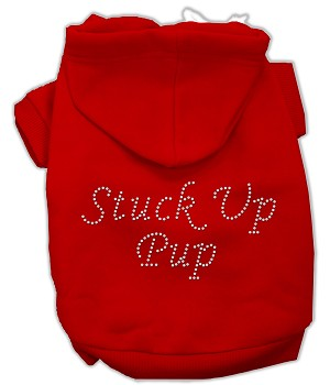 Stuck Up Pup Rhinestone Hoodie Red XXL (18)