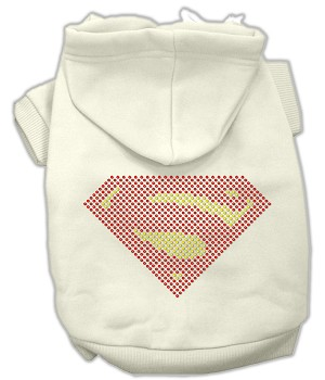 Super! Rhinestone Hoodies Cream XS (8)