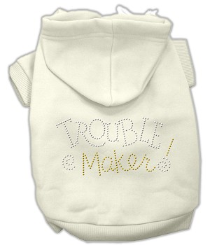 Trouble Maker Rhinestone Hoodies Cream L (14)