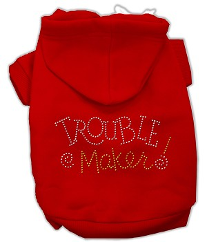 Trouble Maker Rhinestone Hoodies Red XXL (18)