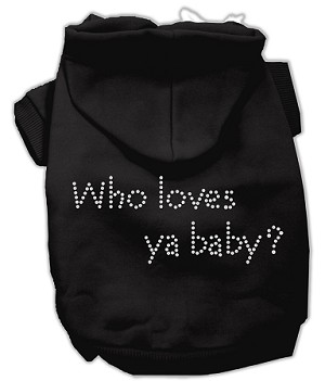 Who loves ya baby? Rhinestone Hoodie Black XXXL(20)