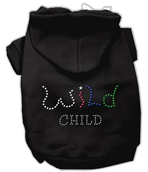 Wild Child Rhinestone Hoodies Black XS (8)