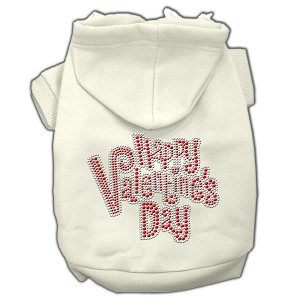 Happy Valentines Day Rhinestone Hoodies Cream M (12)