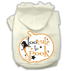 Too Cute to Spook Screenprint Hoodie Cream M (12)