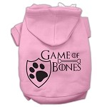 Game of Bones Screenprint Dog Hoodie Light Pink XS (8)