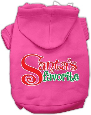 Santas Favorite Screen Print Pet Hoodie Bright Pink Sm (10)