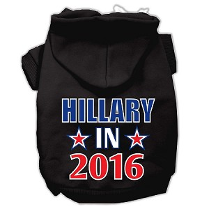 Hillary in 2016 Election Screenprint Pet Hoodies Black Size L (14)