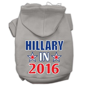 Hillary in 2016 Election Screenprint Pet Hoodies Grey Size S (10)