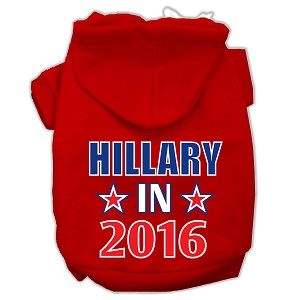 Hillary in 2016 Election Screenprint Pet Hoodies Red Size M (12)