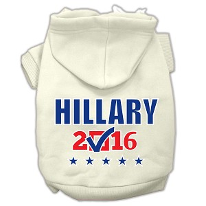 Hillary Checkbox Election Screenprint Pet Hoodies Cream Size XL (16)