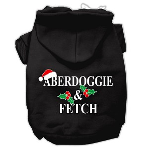 Aberdoggie Christmas Screen Print Pet Hoodies Black Size L (14)